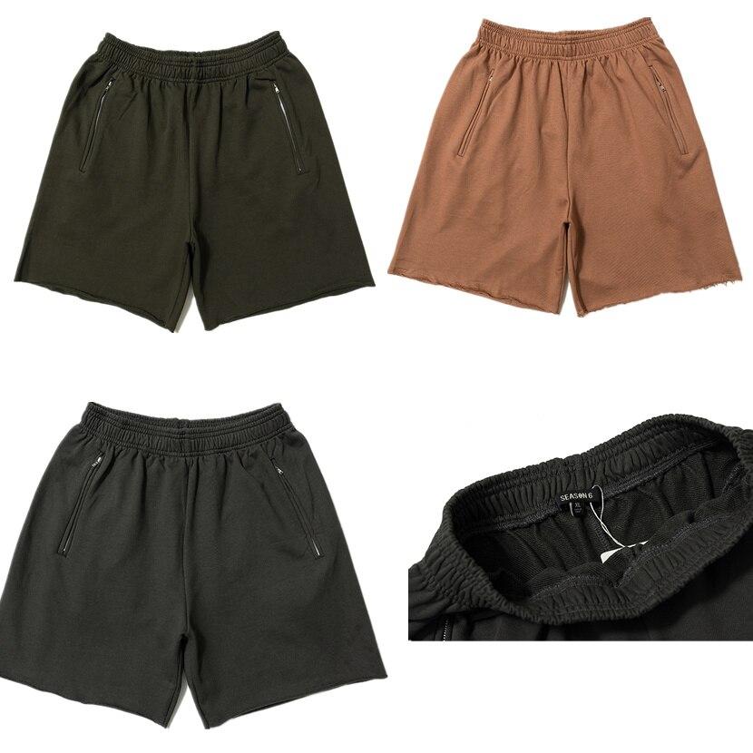 2019 Season 6 Solid Color Summer Kanye West Men Shorts Streetwear Men Cotton Casual Shorts Calabasas