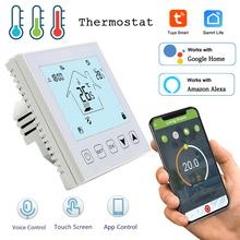 Tuya WiFi inteligentny termostat regulator temperatury do wody elektryczne ogrzewanie podłogowe woda kocioł gazowy współpracuje z Alexa Google Home tanie tanio CUSAM Rohs CN (pochodzenie) HY-603 95-240VAC 50~60HZ 0 5 Celsius degree Less than 0 3W 3A(water heating) 16A(electric heating)
