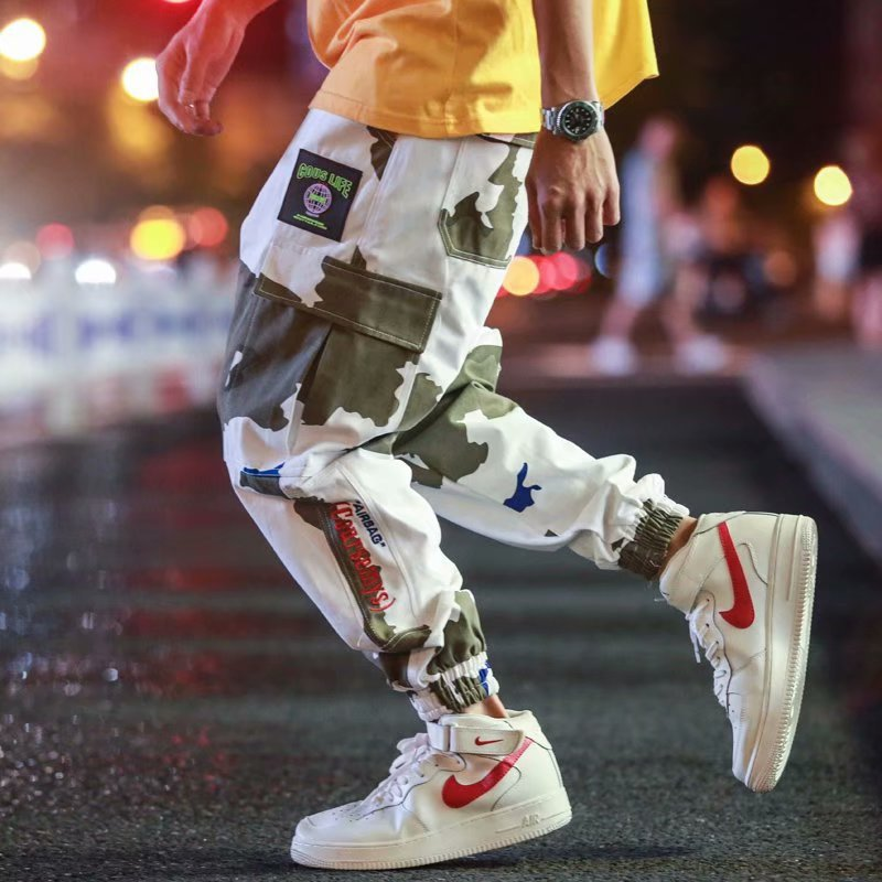 INS Super Fire White Camouflage Bib Overall Men's Japanese-style Popular Brand Loose-Fit Shawn Sports Ankle Banded Pants Hip Hop