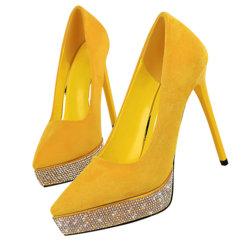 2019 Women Stripper <font><b>Extreme</b></font> 12cm <font><b>High</b></font> <font><b>Heels</b></font> Suede Luxury Platform Pumps Lady Scarpins Yellow <font><b>Heels</b></font> <font><b>Sexy</b></font> Crystal <font><b>Fetish</b></font> <font><b>Shoes</b></font> image