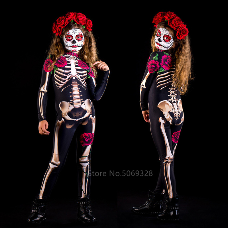 H29d3453bce4f4586a74f70a4c65ab967q - Skeleton Rose Sexy Women Halloween Devil Ghost Jumpsuit Party Carnival Performance Scary Costume Kids Baby Girl Day Of The Dead