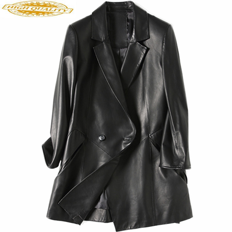 Women Genuine Leather Jacket 2020 Casual Spring Autumn Natural Sheepskin Coat Female Real Leather Jackets Black WYQ1215