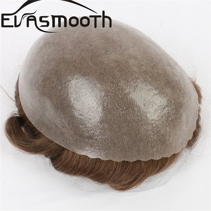 0.12-0.14mm Men Wig Human Hair Men Toupee Hair System Strong Knot Double Knot Men Hairpiece Pu Replacement Men Human Indian Hair
