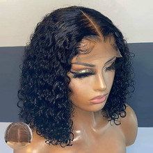 Bob Lace Front Wig Pre Plucked Curly Human Hair Wig Remy 4x4 Lace Closure Wig Pixie Cut