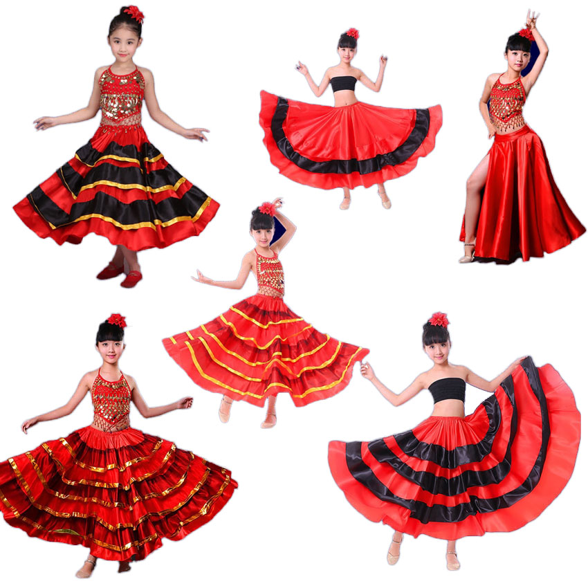 High Quality Satin Soft Red Black Teenager Girls Spanish Flamenco Skirt Striped Bling Ballroom Stage Wear Performance Dress