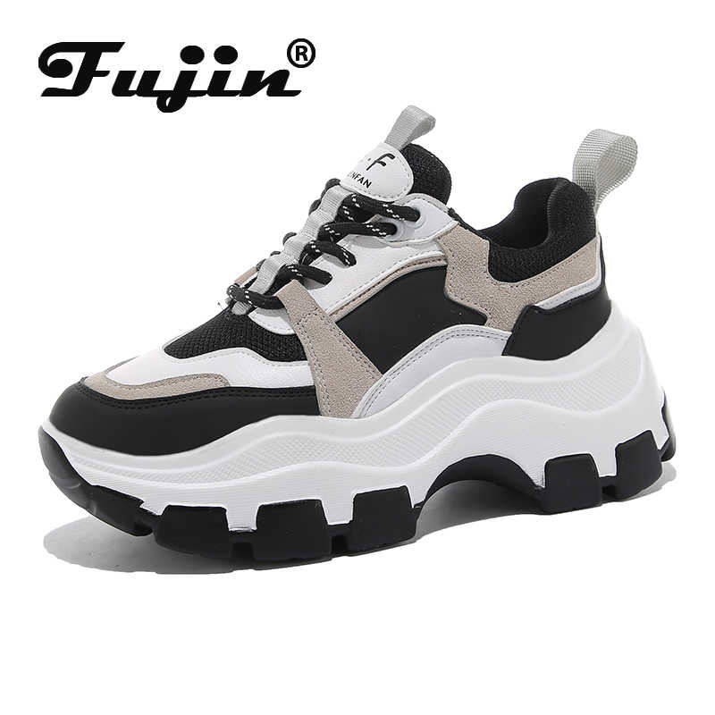 Fujin ayakkabı kadın bahar Dropshipping kalın alt baba ayakkabı kalın alt yuvarlak ayak solunum eğlence kadın ayakkabı