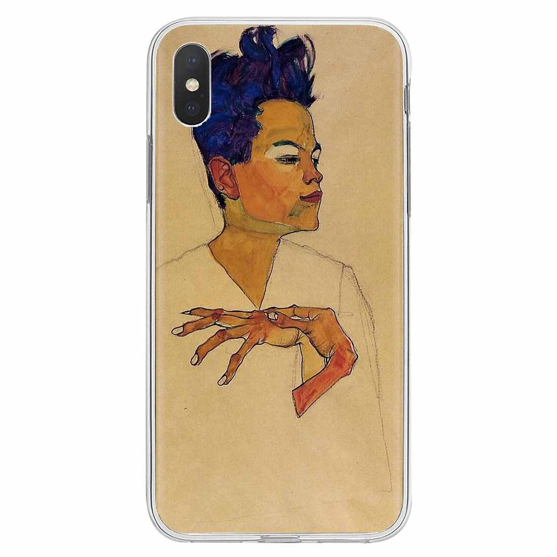 Inspirational Silicone Phone Case For iPhone 11 Pro 4 4S 5 5S SE 5C 6 6S 7 8 X XR XS Plus Max For iPod Touch Egon Schiele