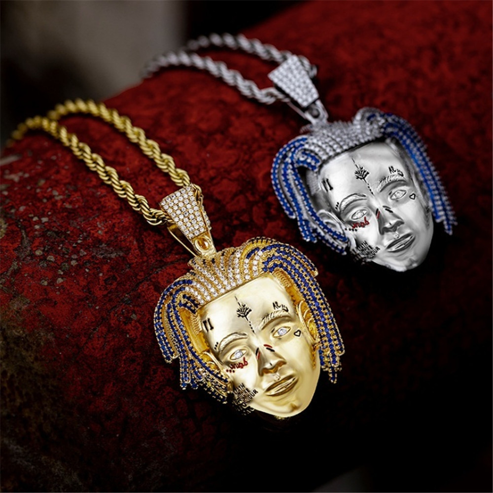 2019 neue Mode Trendy Rock Hip Hop Sänger Xxxtentacion Form Anhänger Halsketten Alle Kristall Luxus Gold Halskette für Männer Frauen