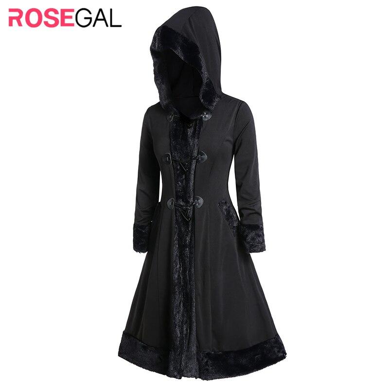 ROSEGAL Plus Size Horn Button Faux Fur Trim Long Coat Hooded Women 2019 Winter Warm Fur Jackets Long Hooded Horn Buckle Coat