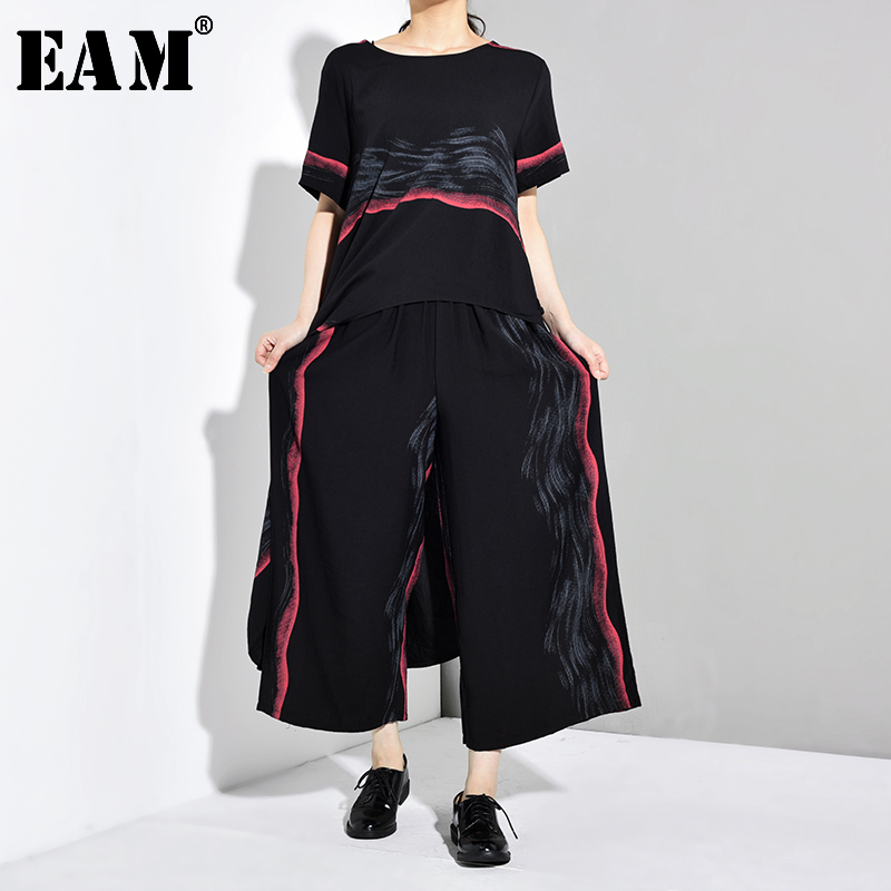 [EAM] Wide Leg Pants Striped Two Piece Suit New Round Neck Short Sleeve Black Loose Fit Women Fashion Spring Autumn 2020 JW5910