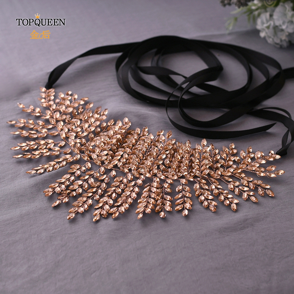 TOPQUEEN Pink Bridesmaid Belt Sparkly Belts For Women Rhinestone Belts For Women Sparkly Belts For Dresses Belt  SH238-P