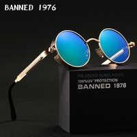 Gafas de sol redondas polarizadas HD 2019 gafas de sol uv400 para hombres gafas de sol vintage para mujeres femeninas gafas de sol de metal con caja