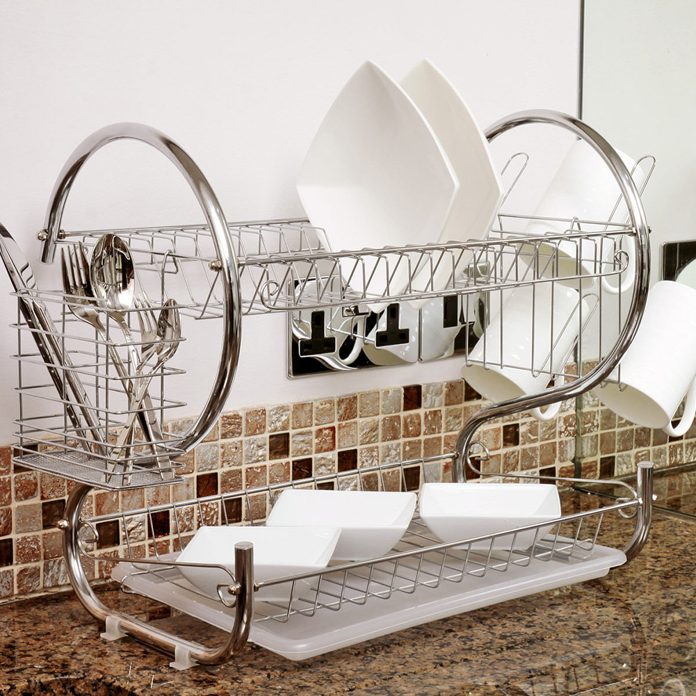 2 Tier Iron Chrome Dish Drainer Drying Rack Removable Rust Proof Utensil Holde For Kitchen Counter Storage Rack