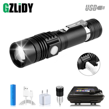 USB Rechargeable LED Flashlight Super Bright T6 L2 LED Torch 5 Lighting Modes Zoomable Waterproof Flashlight +18650 Battery