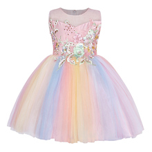 AmzBarley Girls Princess dress Lace floral Appliqués tutu toddler girls colorful Ball gowns wedding Birthday party clothes