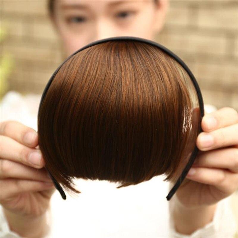 Высокая температура Синтетические волосы бахрома тупой челки с повязкой на голову прямые красные волосы челка Девушка повязка на голову го...