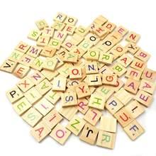 100Pcs Europa certificata Eco-Friendly Quadrato In Legno Verde Dell'esercito Lettera di Alfabeto Scrabble Numero di Parole Inglesi Per Bambini Giocattolo Educativo