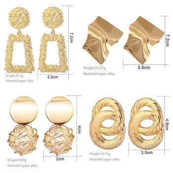 2020 Newest Earrings Gold Drop Earrings For Women Statement Big Geometric Hanging Dangle Earring Vintage Jewelry 4