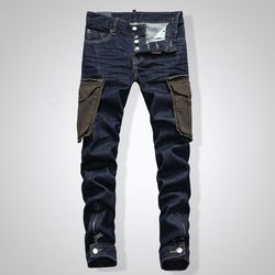 2019 DSQPLEIND2 Dsq mannen jeans Gedrukt Met Gat Gewassen Casual Skinny Denim Jean voor man 100% katoen Knop Rits top Kwaliteit