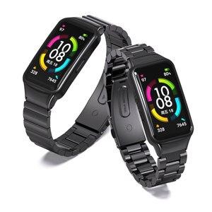 Image 3 - עבור Huawei להקת 6 רצועת לכבוד להקת 6 רצועת חכם צמיד שעון החלפת חגורת צמיד מתכת יד אבזרים