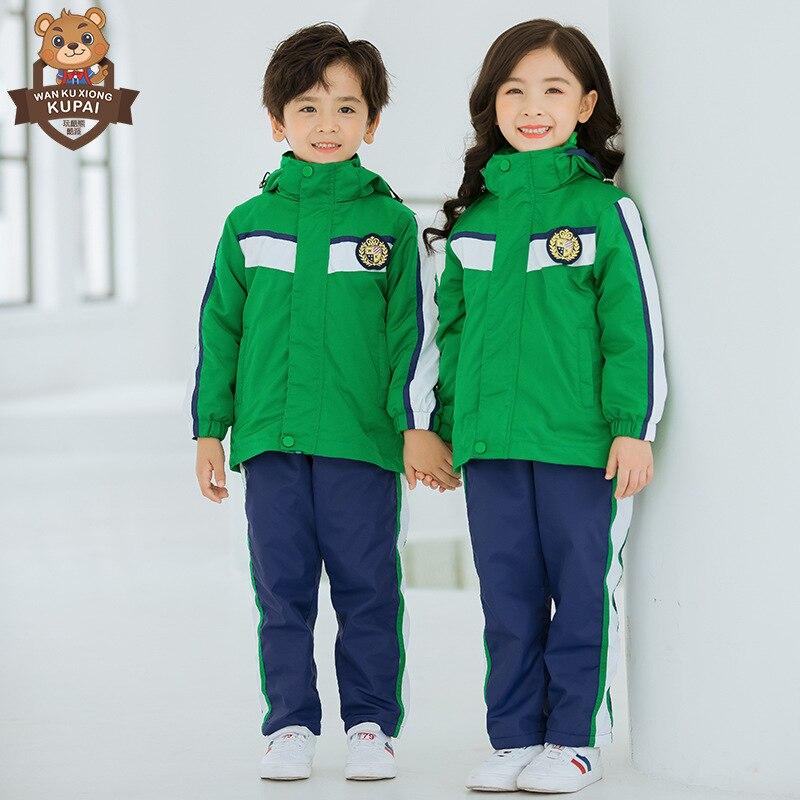 Childrenswear Play Cool Bear New Style Kindergarten Suit Raincoat Jacket School Uniform Young STUDENT'S Autumn And Winter Windpr