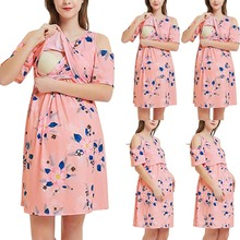 Summer printed lactation dresses Breastfeeding dress pregnant women breastfeeding dress pajamas skirt women maternity Clothes