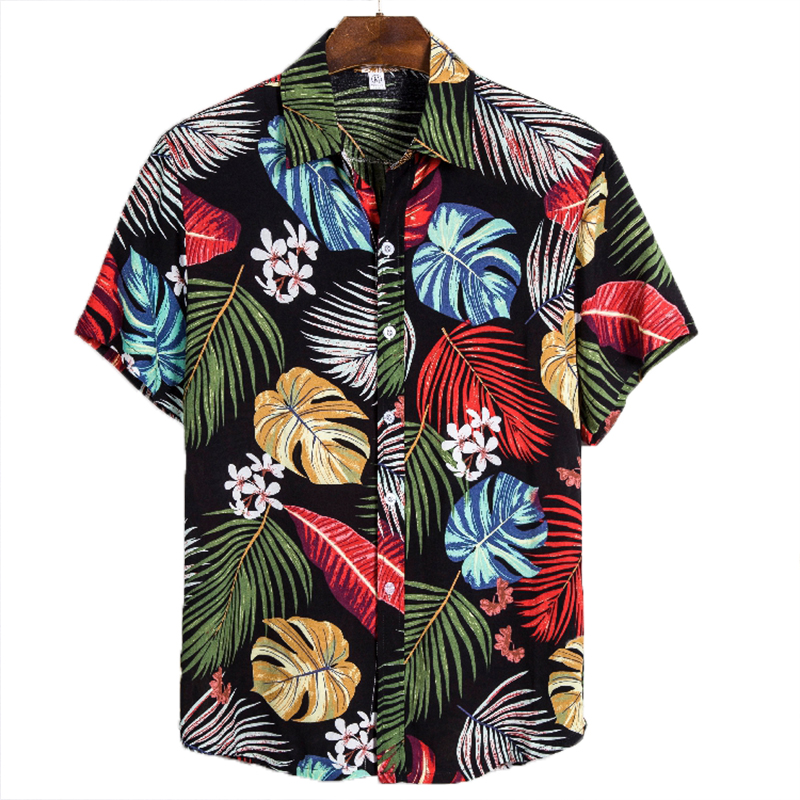 Aoliwen Brand Casual Men's Shirt Hit Color Summer Men Shirt Fashion Top Streetwear Men's Shirt Hip-hop Hawaiian Clothing Men
