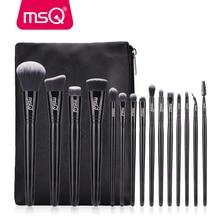 MSQ Juego de brochas de maquillaje, 15 Uds., pinceles de maquillaje negro, base en polvo clásica, sombra de ojos, pelo sintético
