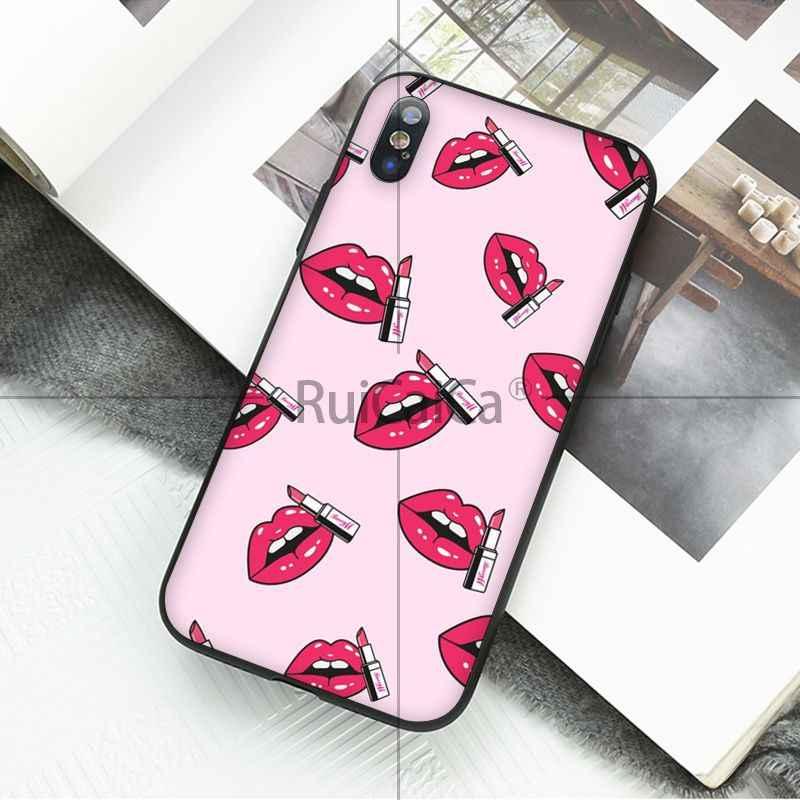 Ruicaica Gợi Cảm môi đỏ Thông Minh Màu Đen Mềm Vỏ Ốp Lưng Điện Thoại cho Iphone X XS MAX 6 6 S 7 7plus 8 8Plus 5 5S SE XR
