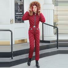 New Winter Hooded Big Fur Cotton Padded Warm Sashes Jumpsuits Zipper One Piece Ski Suit Women Casual Tracksuits Coat