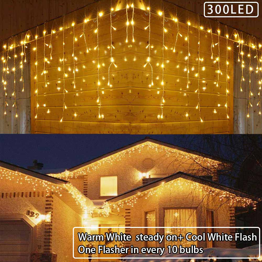 Twinkly Icicle String LED Christmas Lights Curtain Light Droop,6m Fairy Light Outdoor Wedding Holiday Party Curtain Decoration