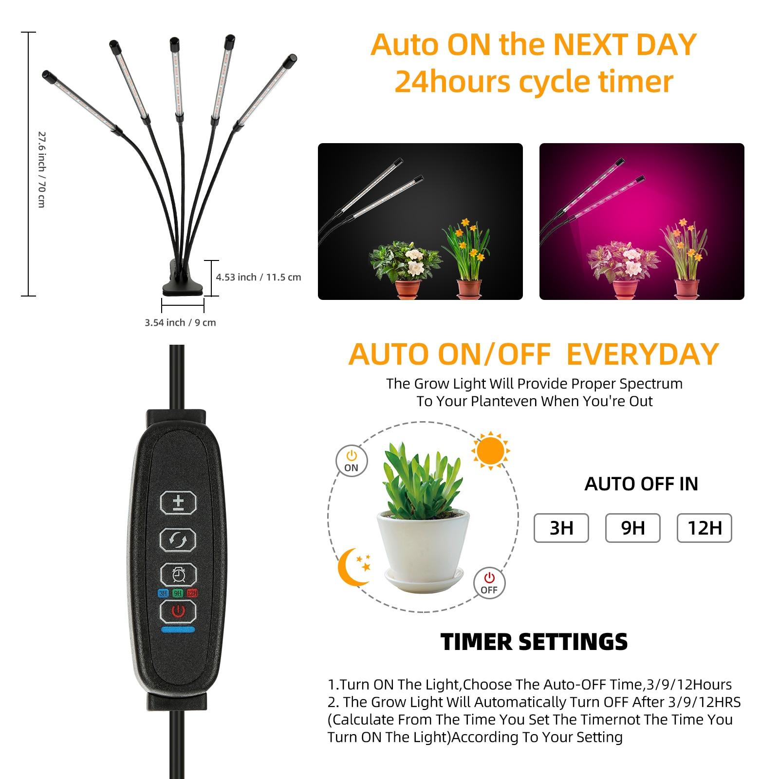 4 Heads LED Grow Light Full Spectrum Phyto Lamp USB Clip-on Grow Lamp for Plants Indoor Seedlings Flower Grow Tent Box Fitolamp