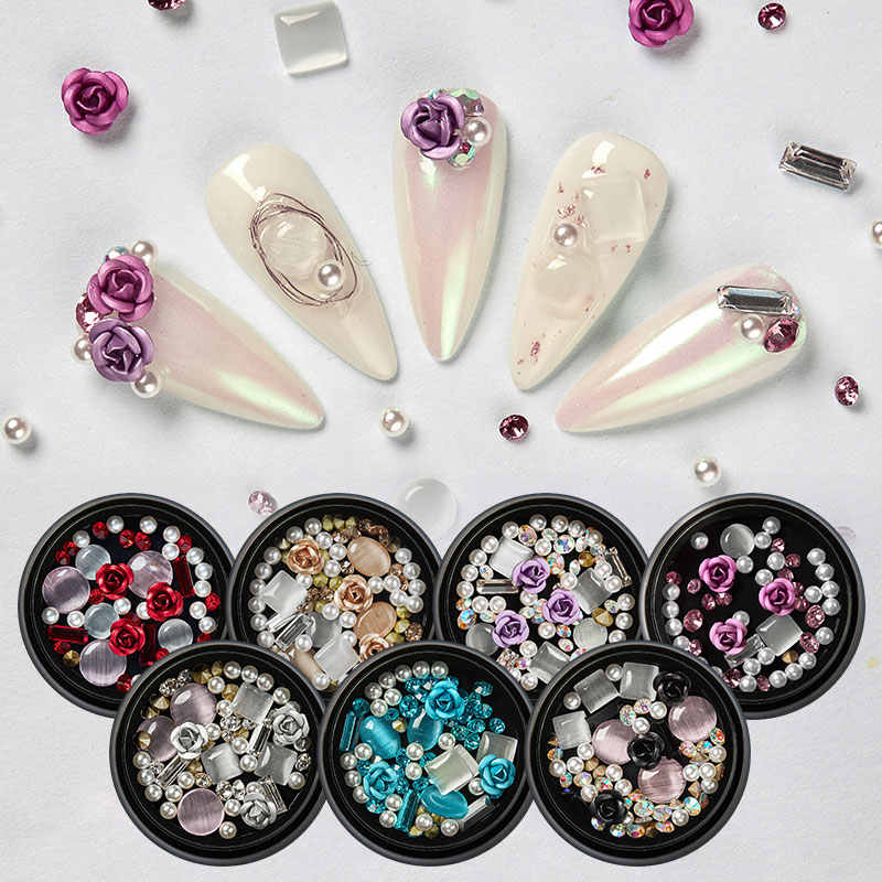 MEET ACROSS 3D Rhinestones Stones Set DIY Gems Charming Mixed Nail Art Decoration Rose Jewelry Gel Glitter Nail Art Decoration