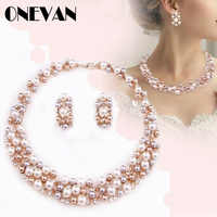 Simple Imitation Pearl Elegant Bridal Jewelry Crystal Necklace Earrings for Girl Party Gift Rhinestone Engagement Jewelry Sets
