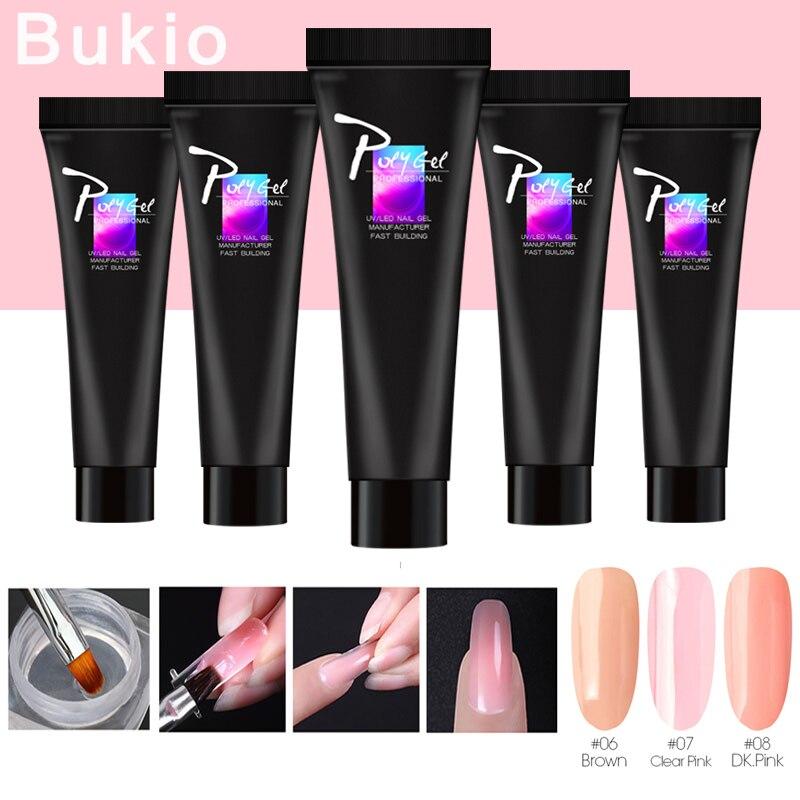Bukio  Poly Extension Gel Pink Nail Polish Quick Building For Nails Extensions Hard Jelly Gel Crystal UV Gel Nail Gel Polish