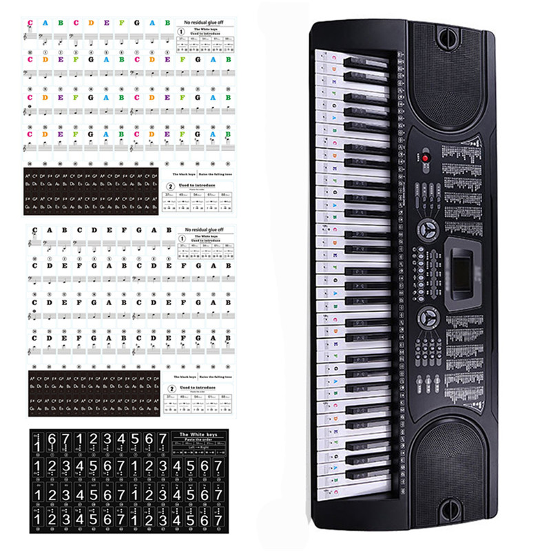 Piano Sticker Transparent Piano 37/49/54/61/88 Keys Electronic Keyboard Key Sticker Piano Stave Note Sticker For White Key Music
