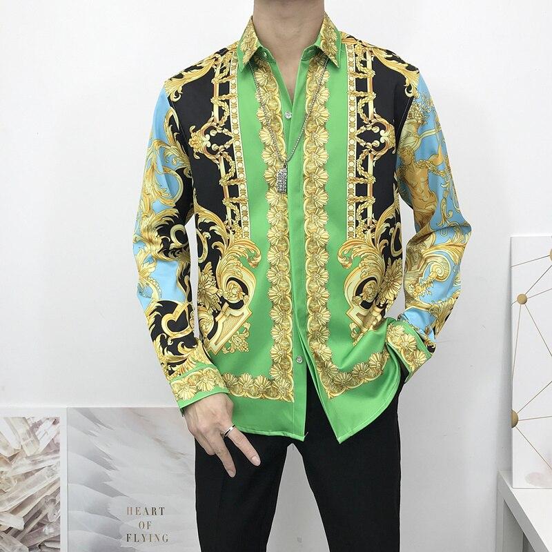 Mens Shirts Clothing Man Fashion 2020 Printing Camisas Medusa head Morning Glory Plant Long Sleeve Hawaiian Shirt Tops Asia Size