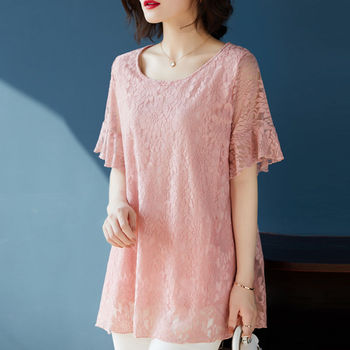 Women summer lace blouses short sleeve casual o-neck solid  tops high quality women shirts