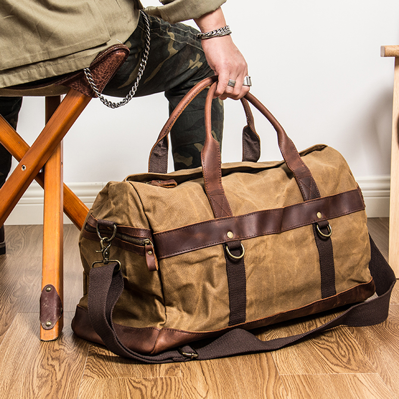 WaterProof Waxed Canvas Leather Men Travel Bag Hand Luggage Bag Carry On Large tote Vintage Men Duffle Weekend Bag big Overnight
