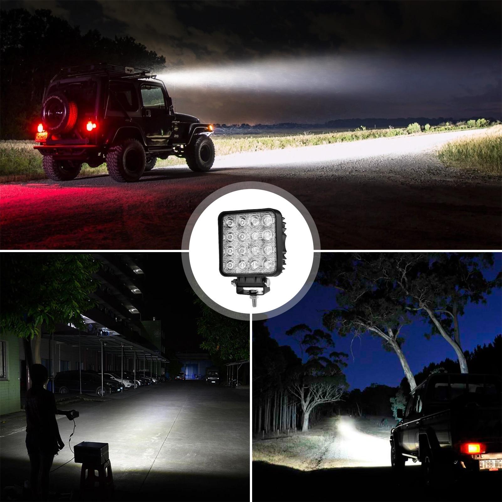 48w Car Light Die Cast Square  LED License Number Plate Light Lamp 12V 24V IP67 LED work light LED White Light