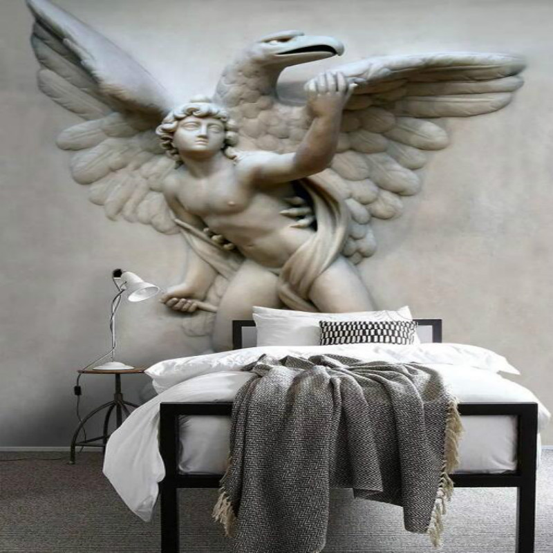 <font><b>Photo</b></font> Wallpapers for Home Improvement Living Room Background <font><b>3D</b></font> Three-dimensional Embossed <font><b>Sexy</b></font> Flying Angel Mural Wall Paper image