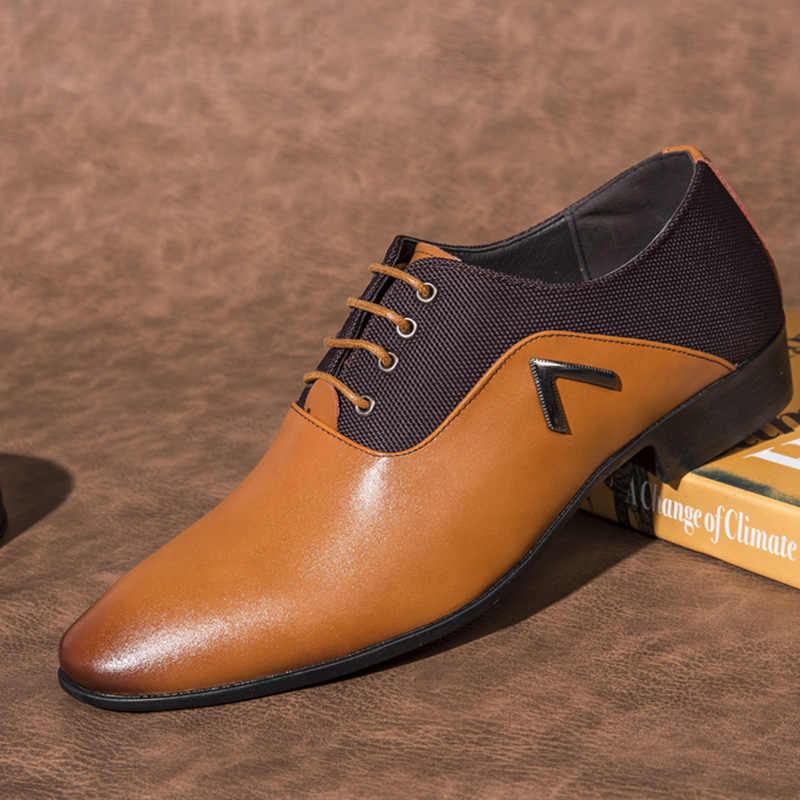 Sapatos formais dos homens vestido sapatos de couro vestido de casamento homem oxford sapatos para homens escritório scarpe uomo eleganti laarzen dames 569
