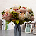 13 Heads Silk Peony Artificial Flowers Peony Wedding Bouquet leaves branch plants fake bunch flowers hotel Home Party Decorr