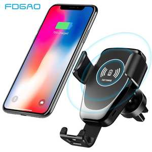 Fdgao Car Mount Qi Wireless Charger For iPhone 11 Pro XS Max X XR 8 10W Fast Charging Car Phone Holder Stand For Samsung S10 S9