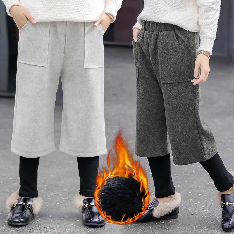 Kinderen Breed-Been-Broek Winter Tiener Meisjes Broek Dikke Fleece Warme Broek voor Meisjes Pantalon Kids Kostuum Meisjes 10 12 jaar