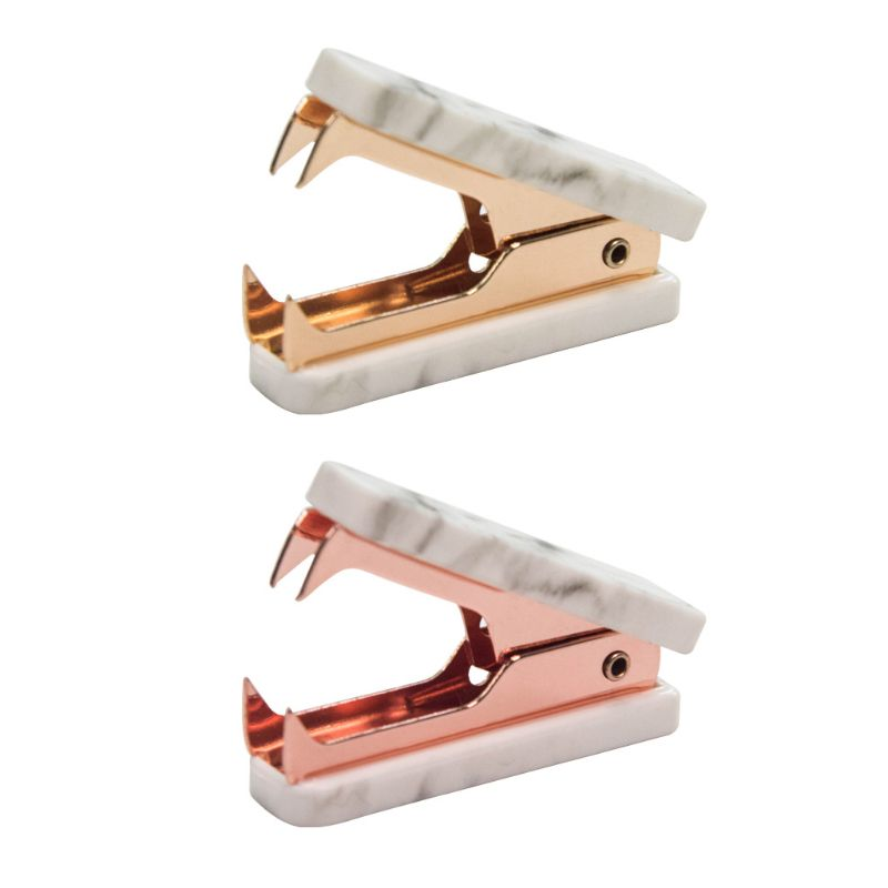 Marble Pattern Staple Remover Nordic Mini Jaw Extractor Nail Puller Stationery  Golden