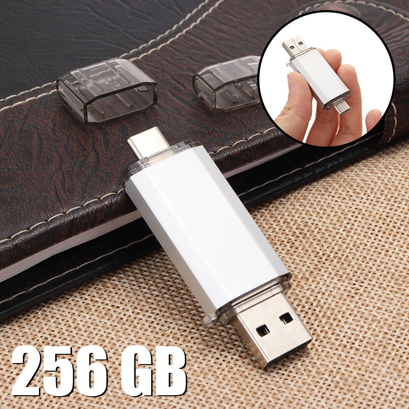 1PC Dual Plug Type Pen Drive A/C Thumb Menmory Stick Drive USB Fashion Flash Drive 32GB To 256 GB For Smart Phone Computer