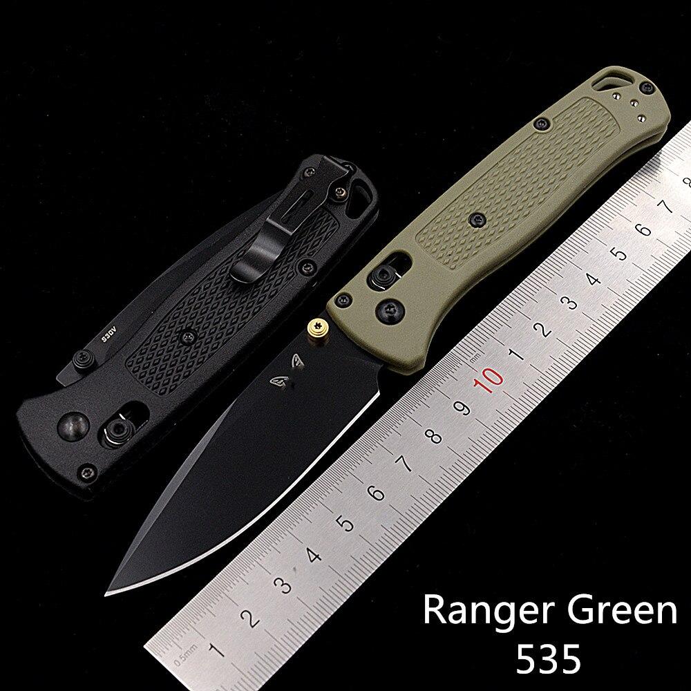 JUFULE New Ranger Green 535/535BK Nylon Fibre Handle Mark S30v Folding Pocket Survival EDC Tool Camp Hunt Utility Outdoor Knife