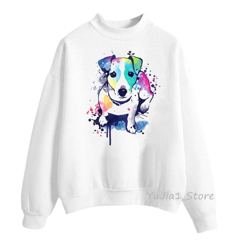 Watercolor Jack Russell Terrier Print Sweatshirt Women Cute Hoodie Dog Lover Clothes Winter Clothes Sweat Femme Streetwear