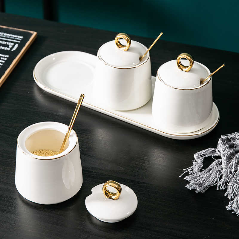 Fushanjia Originality To Flavor Pot Suit Kitchen Articles Household To Flavor Box Condiment Bring Cover Ceramics Salt Jar